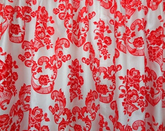 Vintage Gypsy Rose~ Red & White Damask Curtains- 4 Panels