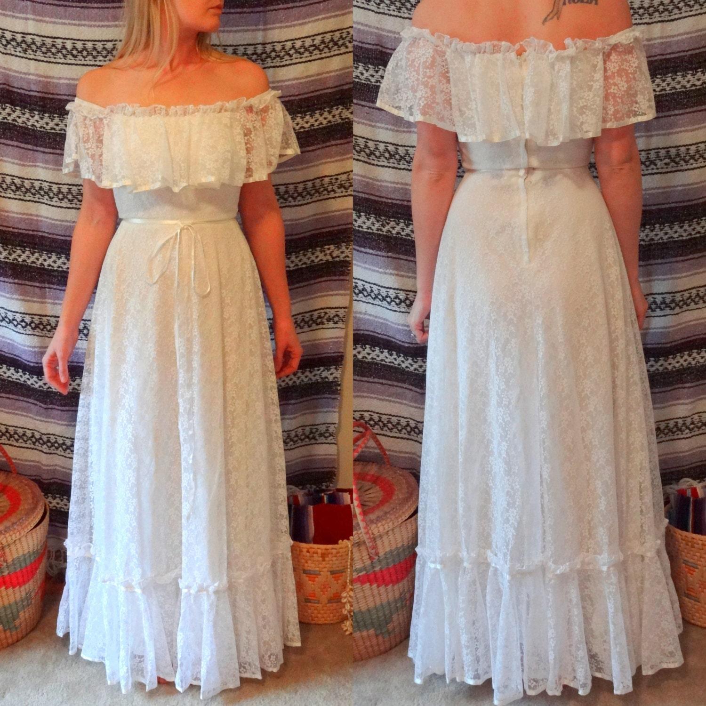 Vintage Wedding Dresses Etsy: Vintage Lace Flower Child Hippie Wedding Dress