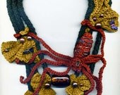 Spider Crochet and Beaded Necklace