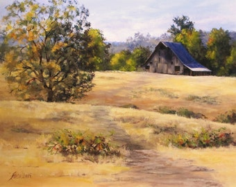 Edge of Autumn - Large Original Country Barn Landscape Painting