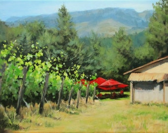 Delfino Vineyard - Original Vineyard Painting