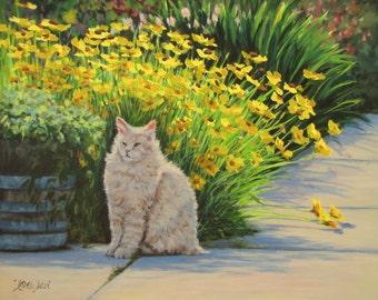Tough Guy - Original Floral Cat Portrait