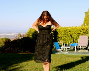 Vintage strapless black lace dress