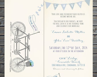 Tandem Bike Wedding Invitation Suite - Invitation and RSVP  DEPOSIT Payment