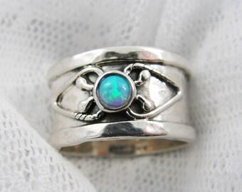 Silver opal ring. Opal silver ring. Sterling silver ring. Wide ring. Wide opal ring. Wide silver band (sr-9567-566)