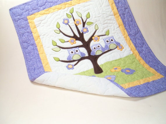 Baby Quilt, Baby Animal Quilt, Baby Crib Quilt, Owl Baby Quilt