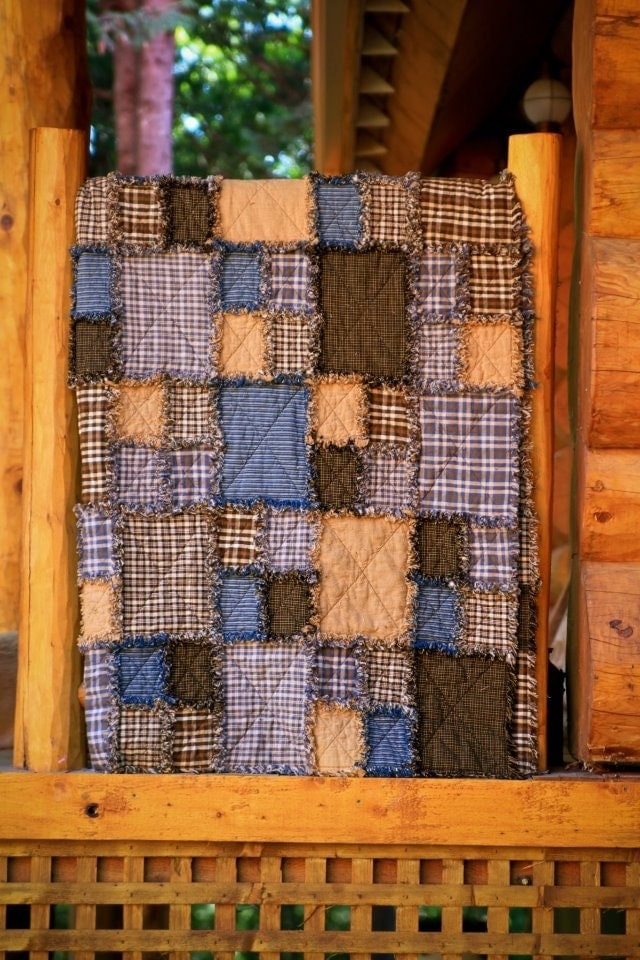 Quilt Patterns For Homespun Fabric : Homespun Twin rag quilt