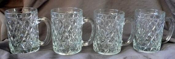 Vintage Paul Sebastian Crystal Arcoco Glass Mugs Set 4 By