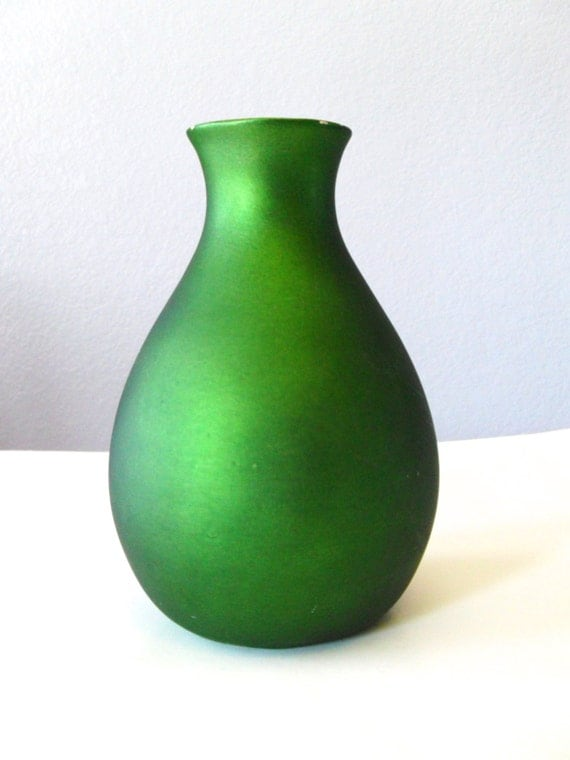 Vintage Green Vase, Green Metallic Curvy Vase, Ceramic Vase, Modern Bud Vase