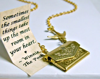 Friendship Necklace, Envelope Necklace, Winnie the Pooh Quote Necklace, Bird Necklace, Secret Message Necklace, Locket Necklace