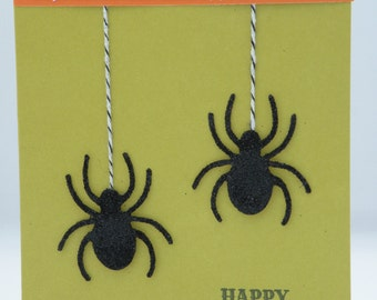 Spider Halloween Card in Green and Orange