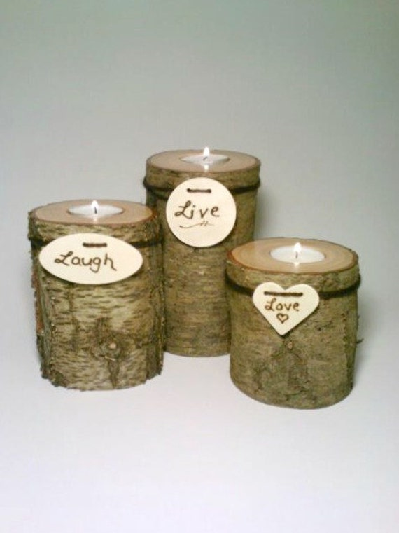 Items similar to rustic wedding centerpiece log candle