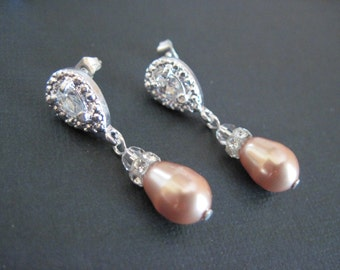 Swarovski Crystal Pearl Drop Earrings/Bridesmaid Jewelry/Pearl Drop Earrings/Rose Gold Pearl Earrings/Pearl Bridesmaid Jewelry