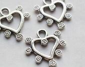 10pcs Heart Charms /Silver / Pendants /Necklace Charms / Bracelet Charms /21x19mm