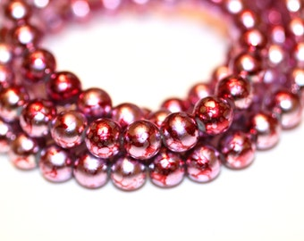 80pcs Loose Beads Red Silver /Basketball wives earrings inspired bracelet beads -Glass Beads-Necklace Beads/8mm