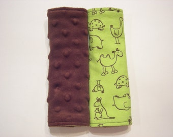 Car Seat Strap Covers - Green Zoo Animals Flannel and Minky Reversible