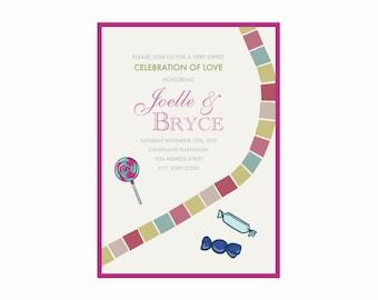Vintage Candy Wedding Invitation