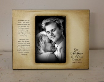 Mother Son Dance Rustic Distressed Gift Personalized Mother of the Groom Wedding Picture Frame 4x6 Keepsake
