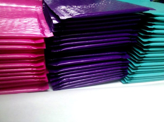 Electric Purple, Hot Pink and Aquamarine Bubble Mailers 4x7 in. 50 Pack