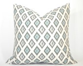 "Premier Prints Carnival Village Blue and Natural Ikat Decorative Pillow Cover (Top Pillow) - To cover 16"" or 18"" Pillow Form"