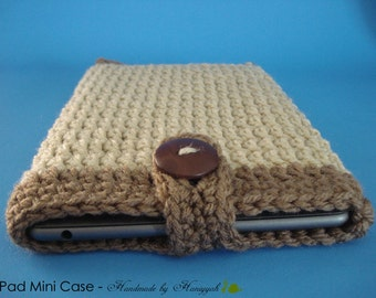 iPad mini - Nook - Kindle - case cover - handmade crochet - Soft Beige and Latte Brown