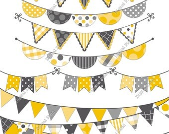 Yellow and Gray Bunting Clip Art Set - printable digital clipart - instant download