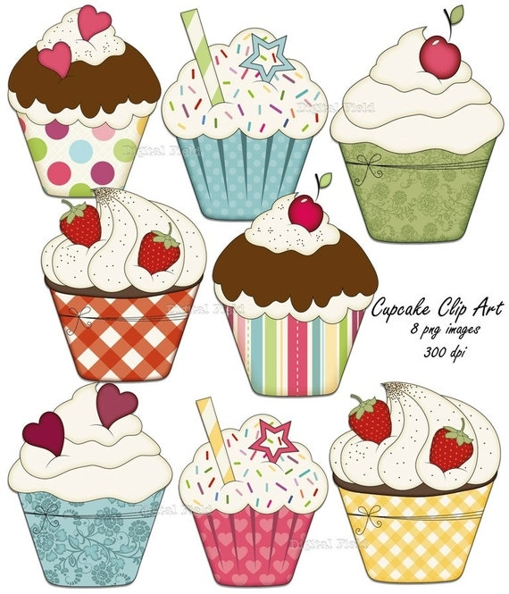 Printable Images Of Cupcakes : Items similar to Cupcake Clip Art Set - colorful printable ...