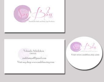 Custom Business Logo watermark OOAK Design - Branding Package includes 2 stationary items i.e. Banner, Avatar, Business Card