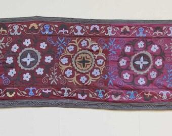24 x 150 Vintage Suzani Old Embroidery Suzani Wall Hanging Uzbek Suzani Table Cover Ethnic Suzani FAST SHIPMENT with ups - suzani-097