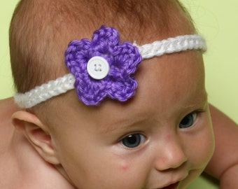 Crochet boutique flower headband, baby/toddler, photo prop, any size , any colors
