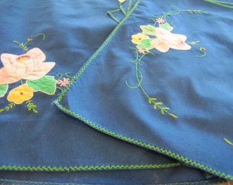 Vintage Table Linen Set, 8 Placemats, Table Runner, Hand Embroidered, Hand Appliqued, Blue, Table Linen Set