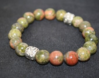 Unakite bracelet,greens and reds, healing properties smoothes aches and Pains balances heart and circulation.