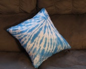 Blue tie dyed all silk 16x16 throw pillow