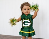 American Girl Doll NFL Greenbay Packers cheerleader outfit and pom poms