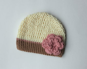 Baby Girl Crochet Flower Hat, Toddler Girl Crochet Hat, Cream and Pink Hat