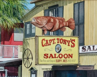 Capt. Tony's Saloon, Key West, Original Watercolor, 20 x 14 - FREE SHIPPING