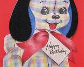 1940s Hallmark PATCHWORK TARTAN PUPPY Flocked Birthday Greeting Card--Cute Artwork--A149