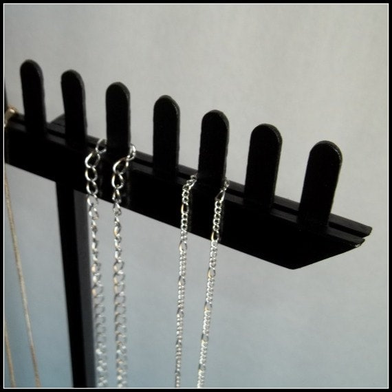 Wood Long Chain Necklace Display Black Tall