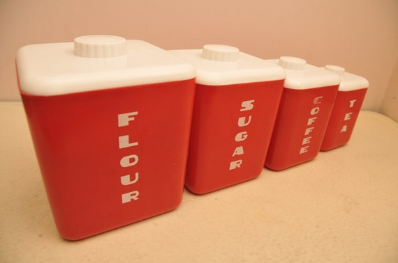 Vintage 1950s plastic red kitchen canister set by whitepicket for Plastic kitchen set