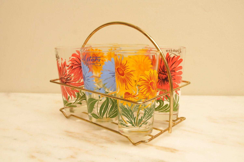 Vintage Set of 6 Flower Peanut Butter Glasses with Carrier