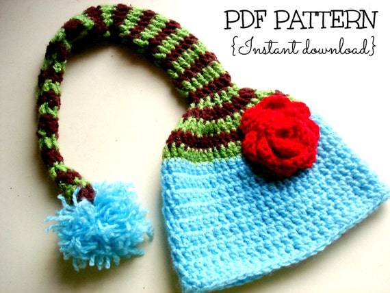 Items similar to Crochet baby hat pattern, elf hat pattern ...