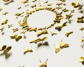 Metal Wall Art Decor, 3D Mural / Collage Kit, Recycled Aluminum Can, Decorative Pins - Gold Butterfly (Large kit, 100 pieces)