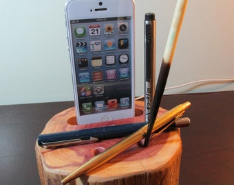 Hand made iPhone 4 or 5 and 6 and 6 plus charging & docking station and pen and pencil desk caddy made from cedar wood.