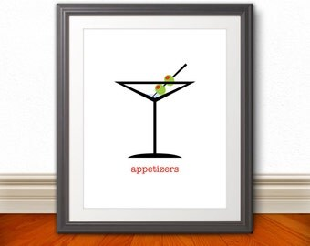 Martini Glass Olive Appetizers Print