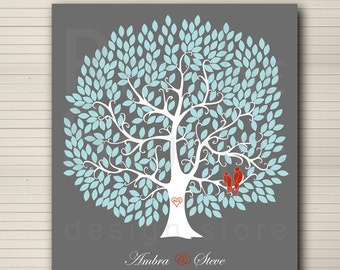 DIY printable wedding alternative guest book. Large tree 300 leaves.