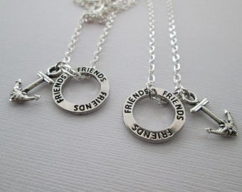 Best Friend Anchor Necklace, 2 Friends Affirmation