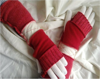 ON SALE!   Arm warmers, fingerless gloves, upcyled, recycled knits, red, white, gloves included