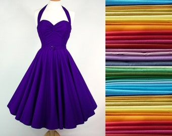 ANY COLOUR Made To Measure Full Circle Skirt Dress - Detachable Straps & Belt