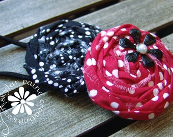 Adult Rosette Headband - Elastic Headband -Red & Black Headband - Fits girls to adults - Kids Headband