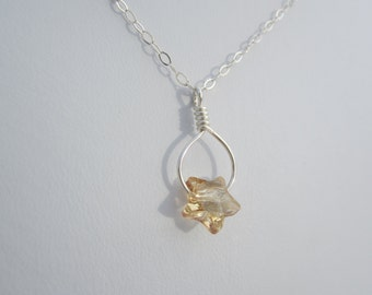 Golden Crystal Star Silver Wire Wrapped Necklace